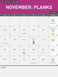 Greatist Monthly Challenge-- November Monthly Challenge Calendar #dontdrop #workout #planks