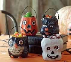 Easy to make paper mache vintage candy holders.
