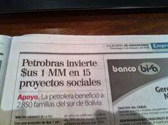 Na Geral Rubens Pontes: Petrobras investe R$ 1 blhão na Bolívia - vejam a data do jornal