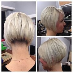 "Short layered inverted undercut bob with tightly-tapered nape.  (""342 
