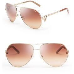Chloe Arrow Aviator Sunglasses (€285) ❤ liked on Polyvore featuring accessories, eyewear, sunglasses, glasses, shades, oculos, aviator style sunglasses, chloe glasses, chloe sunglasses and chloe eyewear