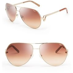 Chloe Arrow Aviator Sunglasses (€285) ❤ liked on Polyvore featuring accessories, eyewear, sunglasses, glasses, shades, oculos, aviator style sunglasses, chloe glasses, chloe sunglasses and chloe eyewear