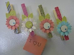 Magnetic Clips I'd paint these like sunflowers and decorate Christmas Presents with them. !