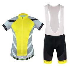 Men's Yellow Short Sleeve Cycling Jersey Set #Cycling #CyclingGear #CyclingJersey #CyclingJerseySet