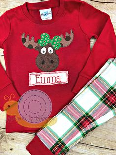 a67edfb53f Appliqued Christmas Girl or Boy Moose Pajamas with Red Plaid Pants for  Babies