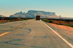 #asphalt #bus #desert #road #straight #street #truck #utah