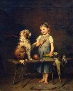 , john collier, artist, 1850-1934   interior with young girl and her dog