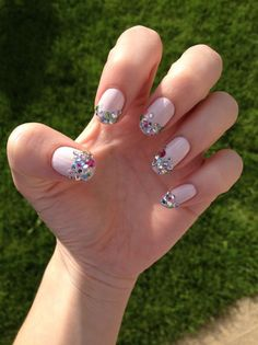 Spring Nail Idea: Play Up Your Tips  Jeweled tips? Totally do able with tweezers and nail glue.