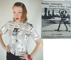 40s Vintage Novelty Spoof Newsprint Blouse sold by denisebrain