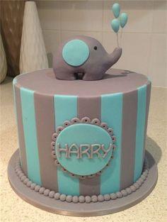 Amanda's Cakes and Invitations - Christening/Baby Shower Cakes boy christening blue grey cake elephant