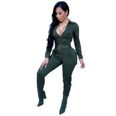 Autumn Winter Casual Rompers Womens Jumpsuit Long Sleeve Zipper Pockets  Slim High Waist Elegant Work Jumpsuits ffc6f9a26bc5