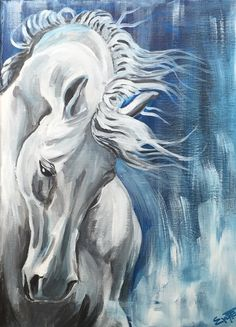 White horse / acrylic colors on canvas 30x40cm/