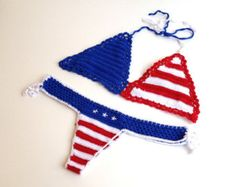 American Flag Bikini Crochet Crop Top stars and by senoAccessory