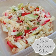 Spicy Cabbage Salad - cabbage, tomatoes, radishes, green onions, apple cider vinegar, lime juice, salt, Frank's red hot sauce