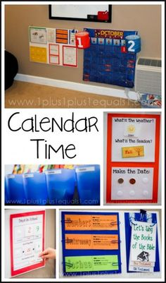Calendar Time ideas and printables from www.1plus1plus1equals1.net