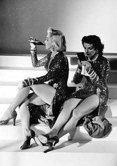 Marilyn Monroe and Jane Russell on a break from filming Gentlemen Prefer Blondes (1953)