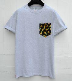 Pocket T-Shirt, Pineapples Pattern Pocket Tee, Men's Pocket T-Shirt, Grey Pocket Tee, Pocket Tee, Men's Wear by HeartLabelTees on Etsy