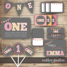 1st Birthday PARTY PACKAGE / First Birthday / Girl's 1st Birthday Party Kit - Printable on Etsy, $37.86 AUD