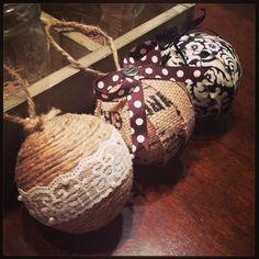 Homemade ornaments! use large styrofoam, rope, burlap, torn fabric etc...lace....