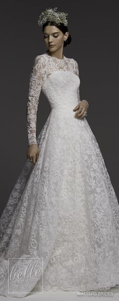 Wedding Dress by Watters Brides Spring 2018 ❤️ ballgown lace bridal gown with long sleeves ❤️ #weddinggown #weddingdress #bridalgown #bride #bridal #dress
