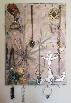 Steampunk mermaid mixed media canvas jewelry organizer Mixed Media Canvas, Jewelry Organization, Candle Sconces, Steampunk, Wall Lights, Mermaid, My Arts, Candles, Home Decor