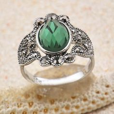 Chic Faux Emerald Embellished Diamante Hollow Alloy Ring For Women, AS THE PICTURE, ONE SIZE in Rings | DressLily.com