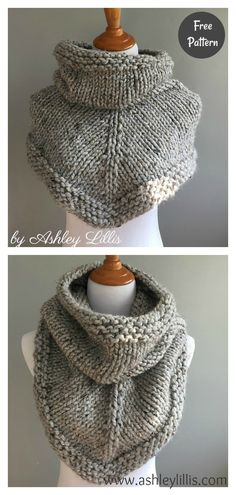 This cute bandana cowl free knitting pattern is a cute cowl that& help you stay warm and fashionable. Make one with the free pattern below. Easy Knitting Projects, Easy Knitting Patterns, Loom Knitting, Knitting Designs, Free Knitting, Baby Knitting, Crochet Patterns, Knitting Tutorials, Shawl Patterns