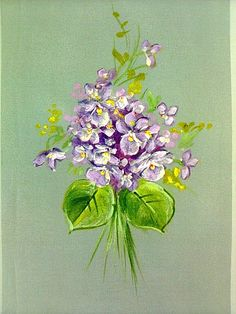 Violetas em seda pintada.