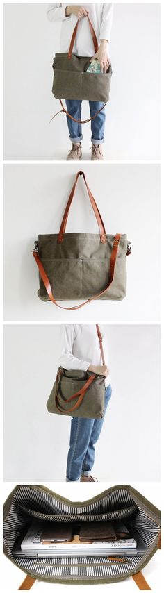 Handmade Army Green Canvas Tote Bag Messenger Bag Shopper Bag School Bag Handbag 14022