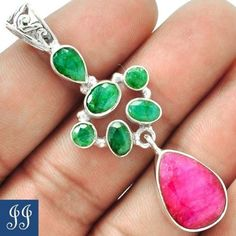 16950-INDIAN-RUBY-EMERALD-925-STERLING-SILVER-PENDANT-CHAIN