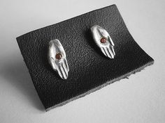 STIGMATA sterling silver earrings with garnets by marmod8 on Etsy