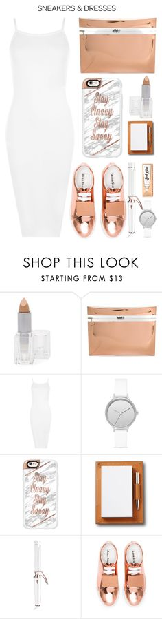 """""""Sporty Chic: Sneakers and Dresses"""" by emcf3548 ❤ liked on Polyvore featuring Longcils Boncza, MM6 Maison Margiela, WearAll, Skagen, Casetify, Asprey, T3, Acne Studios, Benefit and SNEAKERSANDDRESSES"""