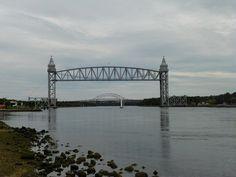 """Bridged"" by J.S. Petralito Oct 2, 2012 Cape Cod Canal...Rail Road Bridge with the Bourne Bridge in the back ground."