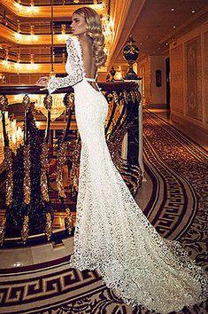 New Elegant Mermaid V Neck Wedding dress Long Sleeves Lace Backless Bridal Gown