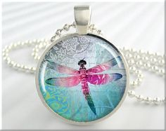 Dragonfly Art Pendant Resin Charm Dragonflies Necklace Picture Pendant (227RS)