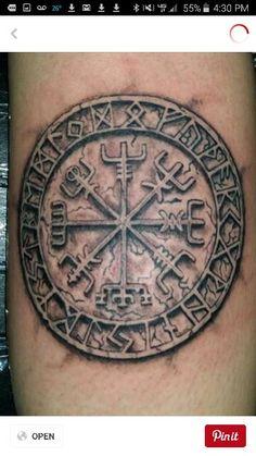 Vegvisir with the rune alphabet around it.