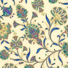 Valley of the Kings 2 - Flowers of Egypt - Jewel/Gold. Fabric from eQuilter.com