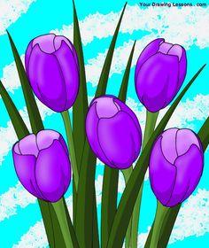 Les 89 meilleures images du tableau tulipes sur pinterest - Tulipe a dessiner ...