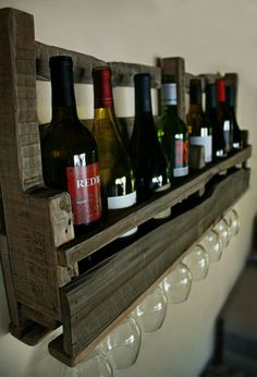 Rustic Pallet Wine Rack from Reclaimed Wood by dharmadesigned, $75.00