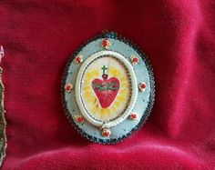 Antique French Embroidered Coeur de Jesus Sacred Heart Scapular Ex Voto Hand Painted Relic Style Center by PinyolBoiVintage on Etsy