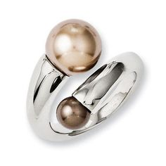 Stainless Steel Champagne and Brown Simulated Pearl Ring Womens Jewelry Rings, Jewelry Gifts, Jewelry Accessories, Women Jewelry, Jewellery, Holiday Jewelry, Stainless Steel Jewelry, Gemstone Rings, Pearl Rings