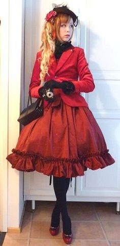 Elegant gothic lolita in burgundy red and black. The one-button blazer and pumps update the Classic EGL style, too.