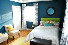 Different shade blue on the wall with the white and brown furniture 69 Colorful Bedroom Design Ideas
