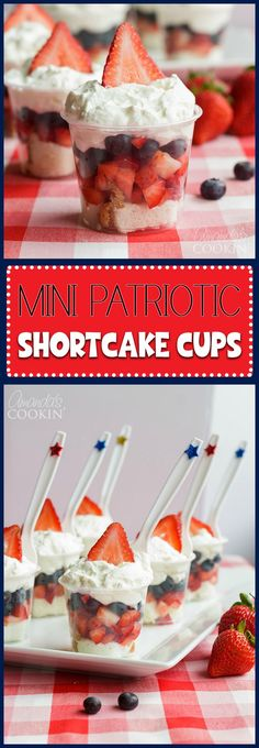 Mini Shortcake Cups are perfect for Memorial Day, of July or just any time. … Mini Shortcake Cups are perfect for Memorial Day, of July or just any time. These adorable little fruit and cake cups are just the right size. 4th Of July Desserts, Fourth Of July Food, Holiday Desserts, Holiday Treats, Just Desserts, Holiday Recipes, Summer Recipes, 4th Of July Camping, Patriotic Desserts