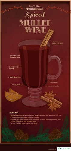 Have you ever tried spiced mulled wine before? Try this tasty, and warm drink recipe that's perfect for winter, and the holidays!