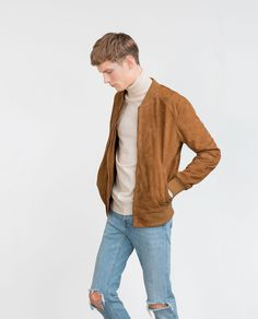 Image 3 of SUEDE BOMBER JACKET from Zara