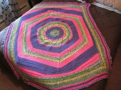 Pink & Purple Circle in a Rectangle Afghan on Etsy, $55.00