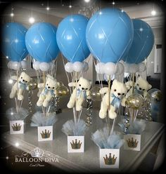 - 𝓝𝓪𝓫𝓪𝓼 𝓒𝓮𝓷𝓽𝓻𝓮𝓹𝓲𝓮𝓬𝓮 𝓦𝓲𝓷𝓷𝓮𝓻 2019 - 💙Colour Changing Bespoke Hot Air Balloon Centrepiece 💙 🎈🎈💕All of our designs are Bespoke Baby Shower Decorations For Boys, Boy Baby Shower Themes, Baby Shower Balloons, Baby Shower Gender Reveal, Baby Shower Parties, Baby Boy Shower, Baby Showers, Hot Air Balloon Centerpieces, Baby Shower Centerpieces