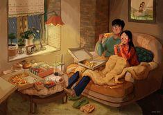 Couple Amour Anime, Anime Love Couple, Couple Cartoon, Cute Couple Comics, Cute Couple Art, Cute Couples, Cute Couple Drawings, Cute Drawings, Pencil Drawings