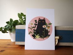 Black Cat with Foliage A5 Print. (Unframed)    Part of my Black Cats series of illustrations, this piece features a black cat with foliage.    This